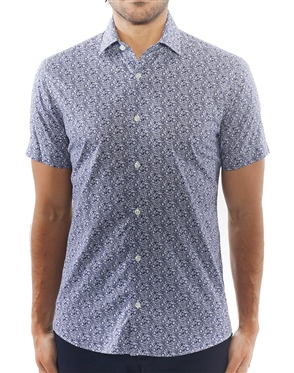 Navy Floral Print Short Sleeve Woven