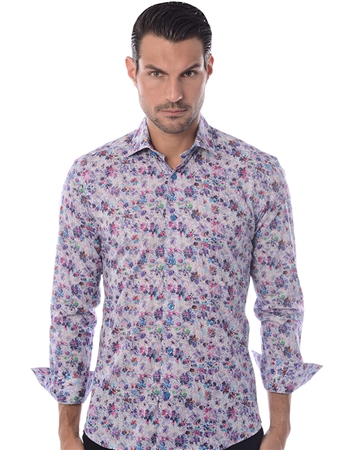 Designer Dress Shirt - White Floral Button Down