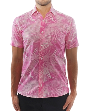 Pink and White Leaf Print Shirt