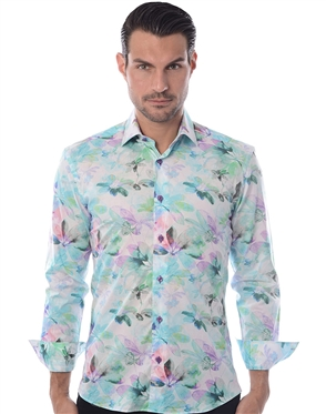 Modern Turquoise Floral Dress Shirt