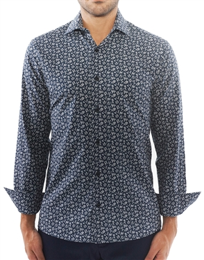 Navy White Print Dress Shirt