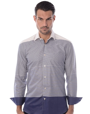 Unique Navy Stripe Dress Shirt