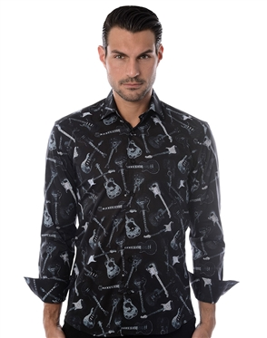 Black Guitar Print Shirt