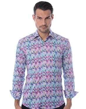 Whit Purple Designer Dress Shirt