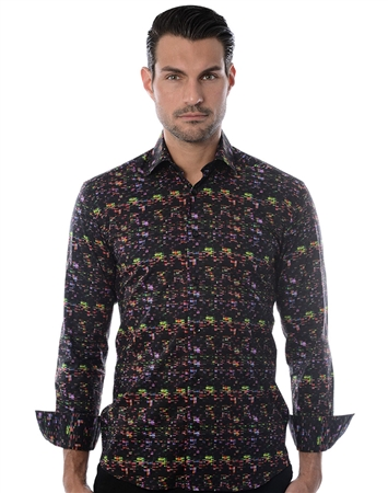 Black Multi-Colored Dot Dress Shirt
