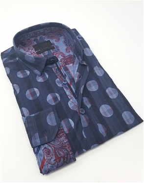 Navy Circle Check Dress Shirt