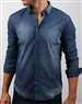 Sporty Navy Denim Dress Shirt