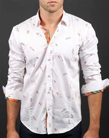 White Orange Button Down