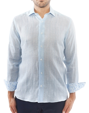 Light Blue Weave Print Dress Shirt
