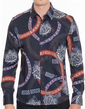 Designer Dress Shirt - Elegant Abstract Print Dress shirt
