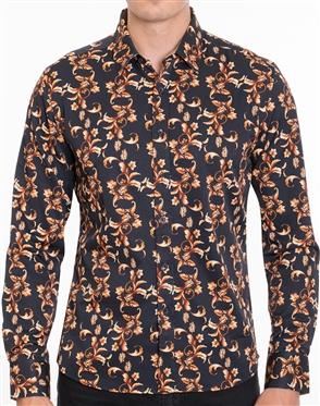 Designer Dress Shirt - Black Gold Ornate Leaf Print dress Shirt