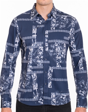 Designer Dress Shirt - Navy White Luxury Shirt