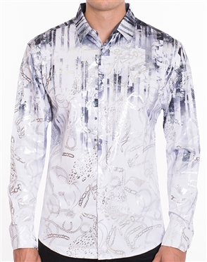 Luxury Sport Shirt - White Paisley Gradient Print shirt