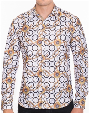 Flattering Baroque Print Dress Shirt - Multicolored Designer Dress Shirt