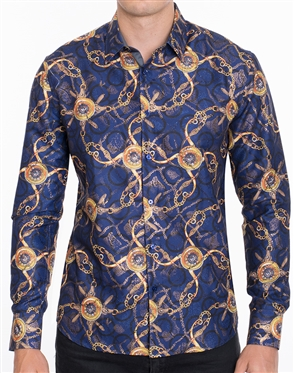 Modern Baroque Print Luxury Shirt - Multicolored Designer Dress Shirt