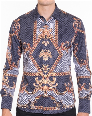 Rich Baroque Print dress shirt - Multicolored Designer Dress Shirt