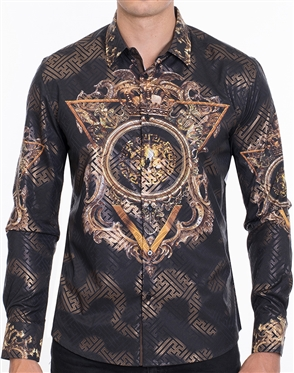 Designer Dress Shirt - Luxury Abstract Print Shirt