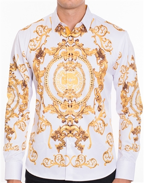 Luxury Sport Shirt - White Gold Crest Print Button Down