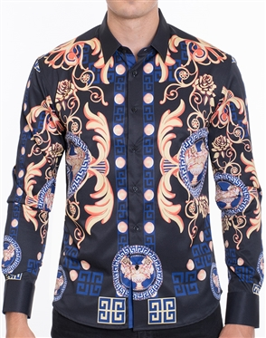 Designer Gold Baroque Print Dress Shirt - Multicolored Designer Dress Shirt
