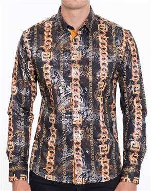 Luxury Black Sport Shirt - Multicolored Designer Dress Shirt