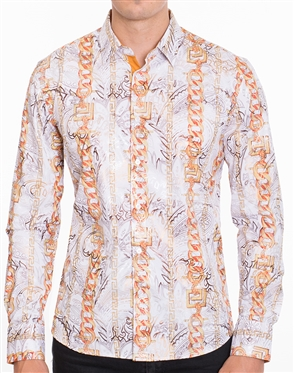 Luxury White Sport Shirt - Multicolored Designer Dress Shirt