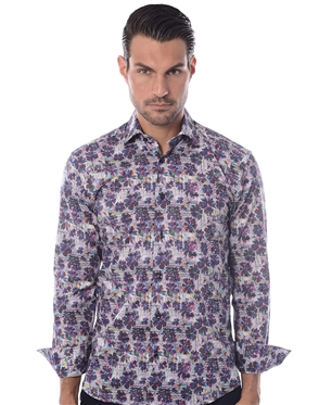 White Purple Floral Shirt
