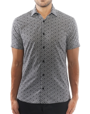 Black and White Geometric Print Dress Shirt