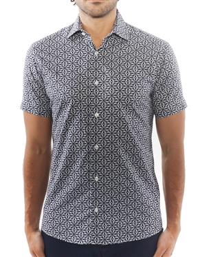 Navy and White Geometric Print Dress Shirt