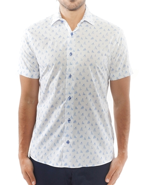 White Blue Sailboat Print Dress Shirt