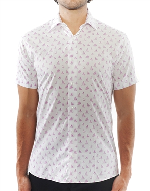 White Lilac Sailboat Print Dress Shirt