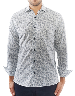 White and Black Floral Print Shirt | 100% Cotton Shirt