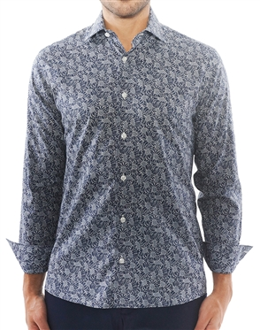 Navy and White Floral Print Shirt | 100% Cotton Shirt