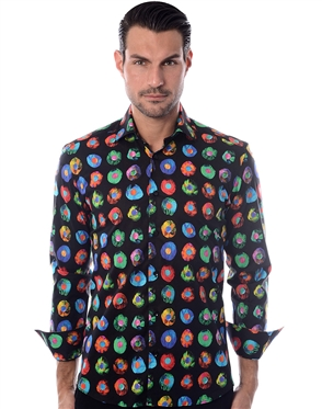 Unique Black Multi Color Floral Shirt