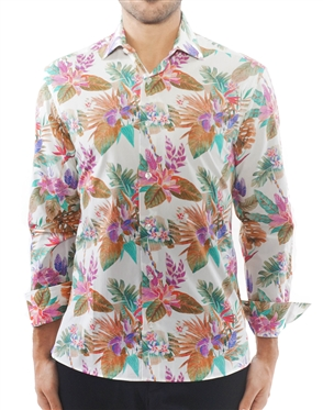 Multicolored White Floral Dress Shirt