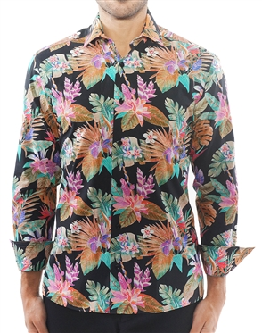 Multicolored Black Floral Dress Shirt