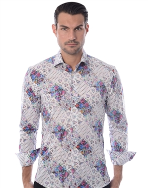 White Diamond Floral Dress Shirt