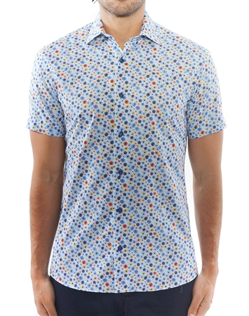Blue Floral Short Sleeve Woven