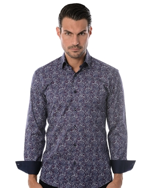 Navy Liberty Print Dress Shirt