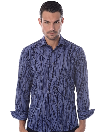 Navy Bamboo Stripe Dress Shirt