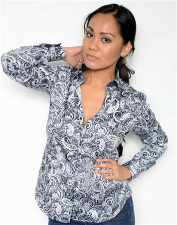 Women paisley dress shirt