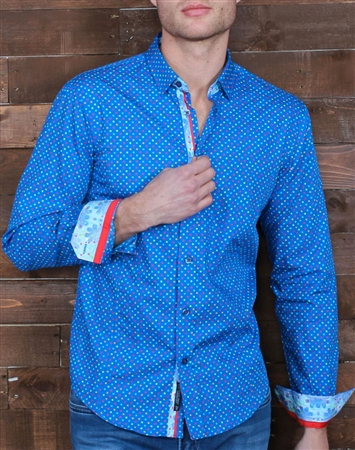 Blue Multi-dot Dress Shirt