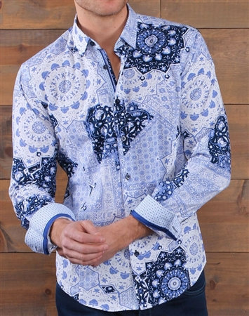 White Navy Floral Dress Shirt