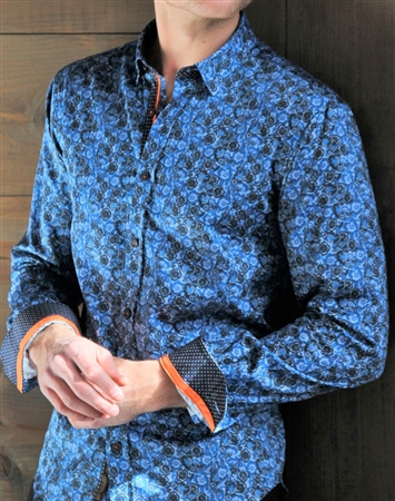 Navy Paisley Floral Dress Shirt