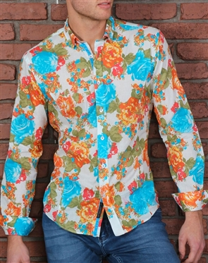 White Turquoise Floral Dress Shirt