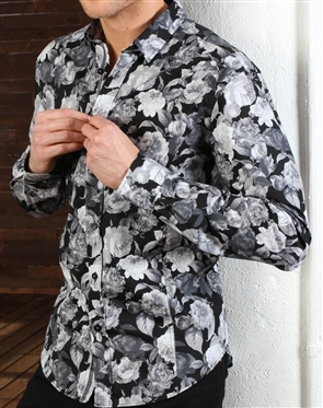Black Gray Floral Shirt