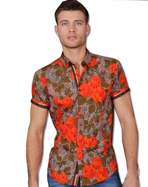 Orange Floral Button down
