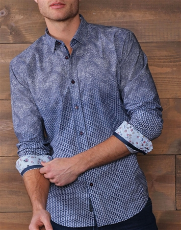 Navy White Button Down