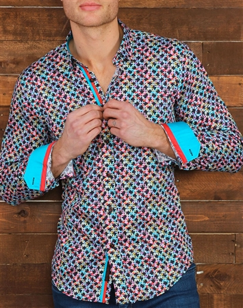 Navy Multi Check Dress shirt