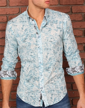 White Teal Dress shirt