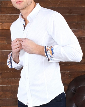 White Jacquard Dress Shirt